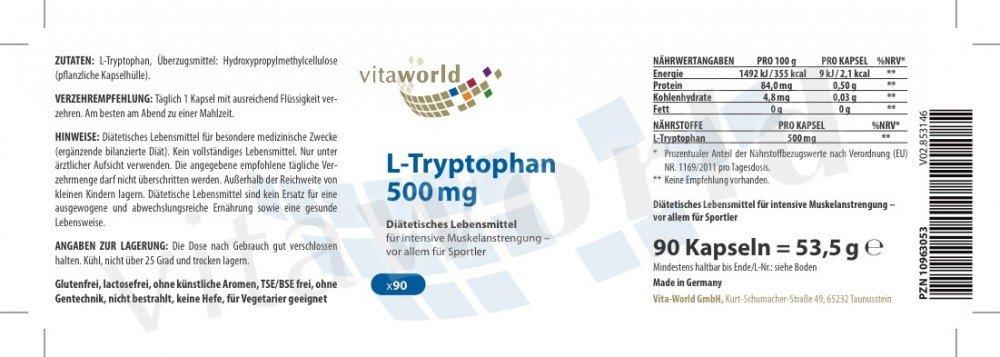 L-Triptófano 500mg 90 Cápsulas Vegetales Vita World Alemania L-Tryptophan Aminoácido Proteínas: Amazon.es: Salud y cuidado personal