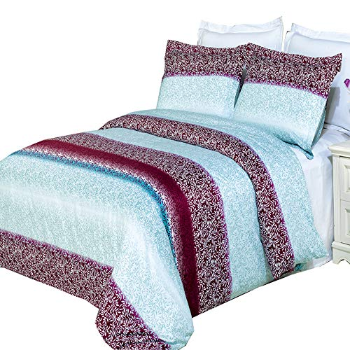 Traditions Comforter Set - Royal Tradition Printed Kimberly 210-Thread-Count, 100-Percent Cotton Full/Queen 3PC Duvet Cover Set (Mauve, White, Aqua Shades)