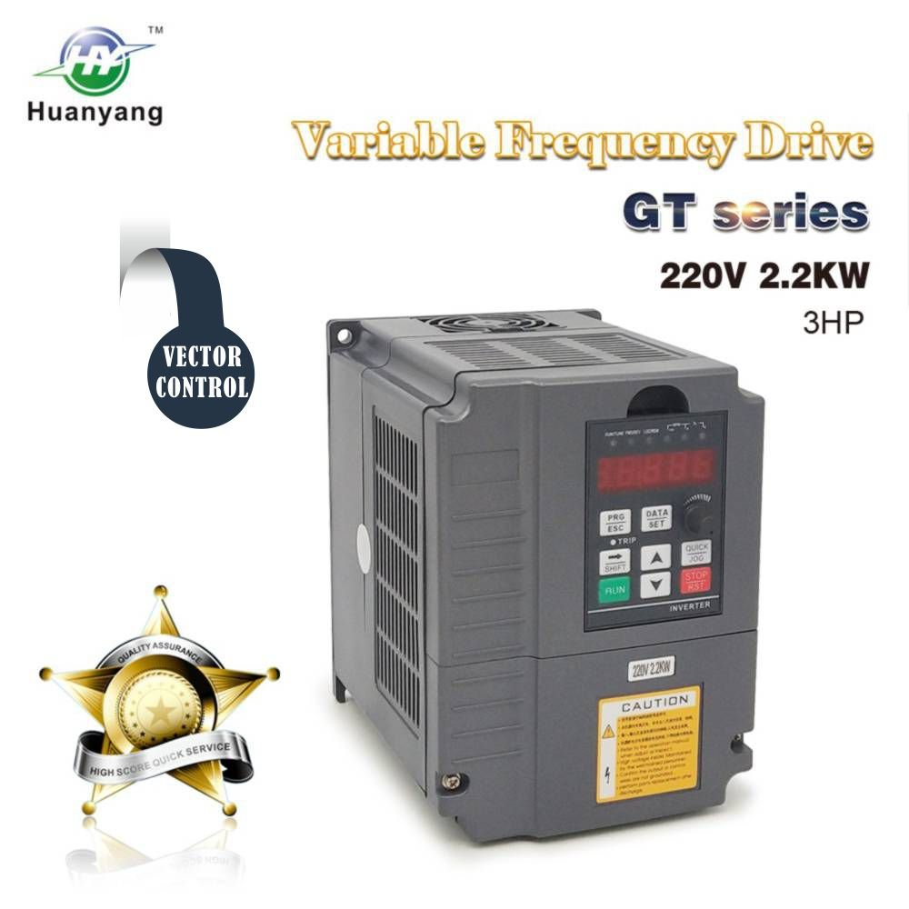 Vector Control CNC VFD Variable Frequency Drive Controller Inverter Converter 220V 2.2KW 3HP for Motor Speed Control HUANYANG GT-Series (220V, 2.2KW) by HY HUANYANG
