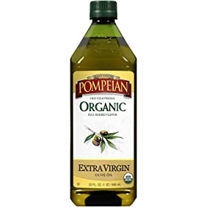 Pompeian USDA Organic Extra Virgin Olive Oil, First Cold Pressed, Full-Bodied Flavor, Perfect for Vinaigrettes and Marinades, Naturally Gluten Free, Non-Allergenic, Non-GMO, 32 FL. OZ., Single Bottle