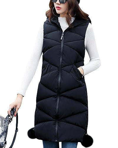 Mujer Largo Slim Fit Chaleco Con Capucha Cálido Acolchado Chaqueta Outwear Negro XL