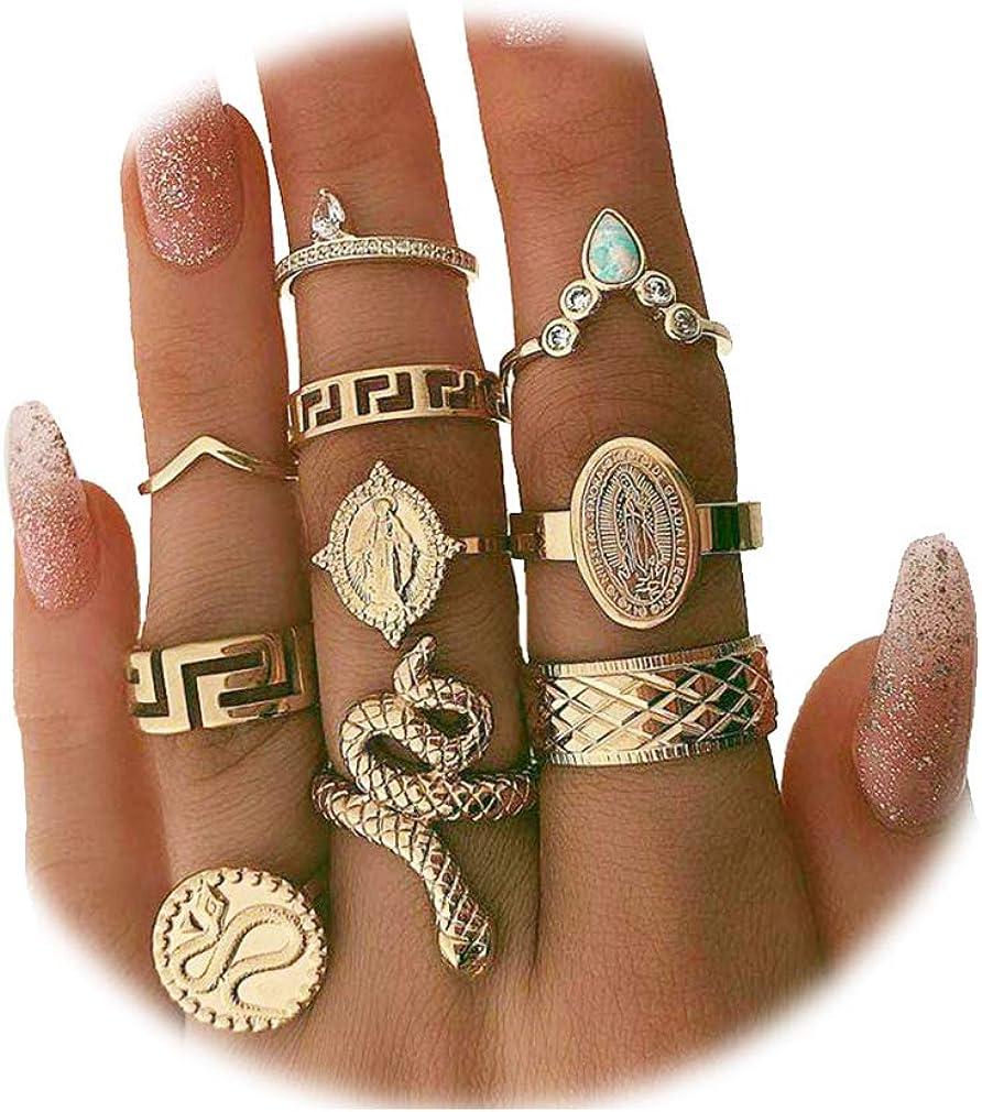 7-11PCS Bohemian Snake Elephant Rings Set, Vintage Gemstone Crystal Punk Stacking Fingers Ring for Women Girls