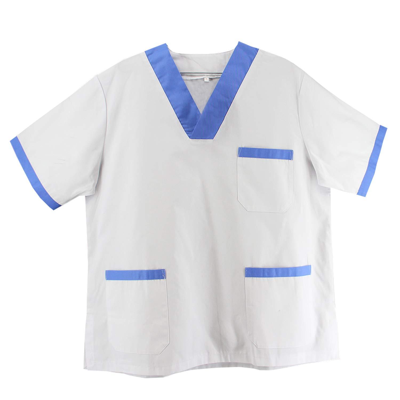 Misemiya Blouse Travail Monsieur COL Revers Manches Longues Uniforme Clinique H/ÔPITAL Nettoyage V/ÉT/ÉRINAIRE SANT/É H/ÔTELLERIE Ref 816
