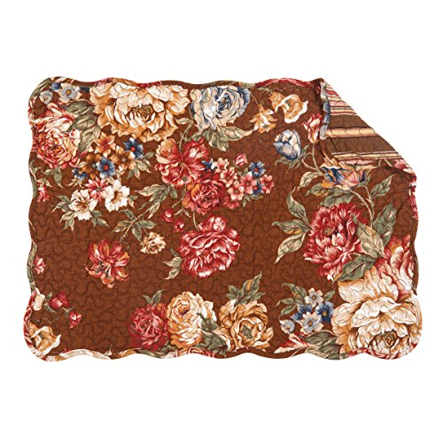 C&F Home Sophia Quilted Placemat Set of 6 Rectangular Placemat Set of 6 Brown (Plates Brown Toile)