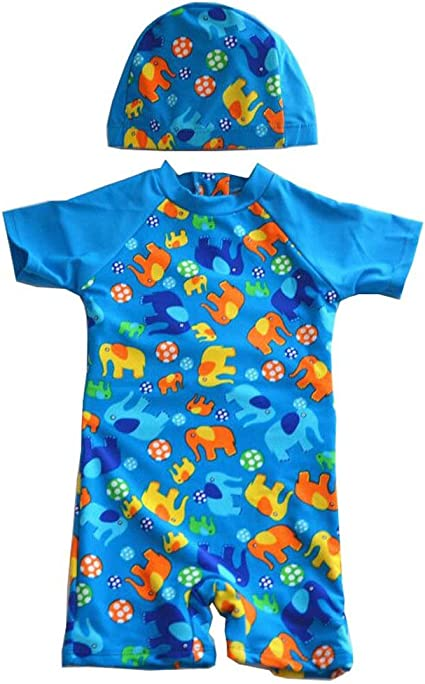 JUIOKK Baby Kids Boys One Pieces Swimsuit with Caps,Short Sleeve Boy-Leg Rash Guard Sun Protective Swimwear Wetsuit