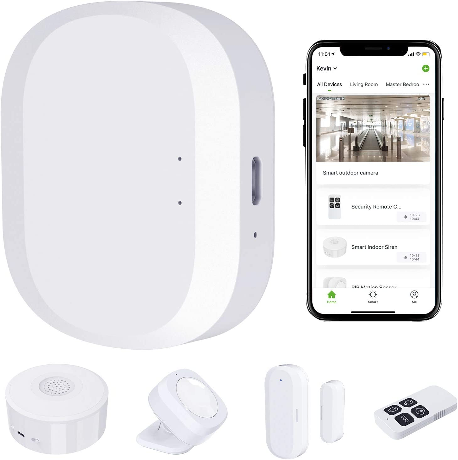 JLAZGJ 5 Pieces Wireless Home Security System,WiFi Alarm Home Security kit - 24/7 Professional Home Safeguard (5 Pieces)