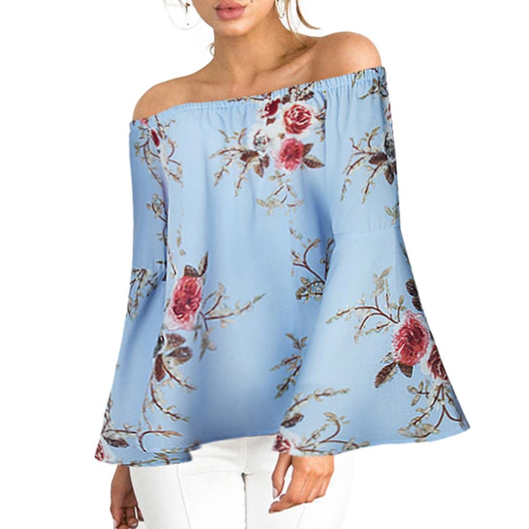 Camisas Sexy Mujer ❤ Amlaiworld Camiseta floral Impresión casual para mujer Camisetas sin hombro niña verano Blusa con Tops de Manga Largas talla grandes ...