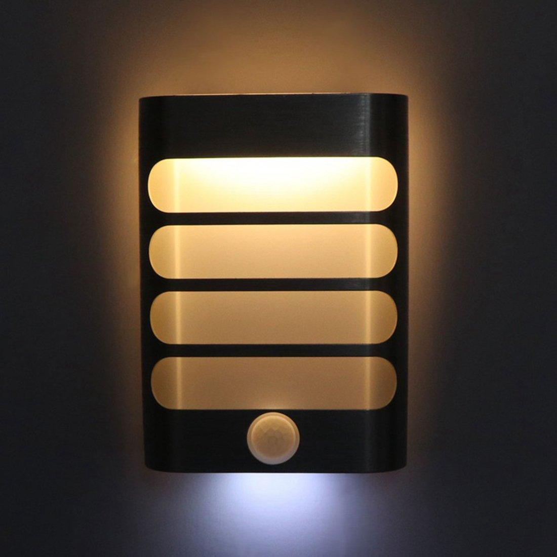 Motion Sensor Light, Alotm Cordless Battery-Powered LED Night Light, Stick-anywhere Closet Lights Stair Lights, Security Lights for Hotel, Child's Room, Kitchen, Hallway, Bedroom etc. (Warm)