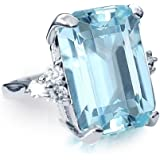 Emerald Green Samie Collection Meghan Markle /& Princess Diana 20ctw Emerald Cut Aquamarine Size 5-10 Garnet Red Color Luxury Party Cocktail Ring for Women Inspired by Royal Wedding