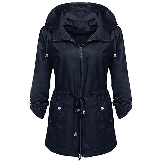Abrigo de mujer, Ouneed Mujer impermeable chaqueta ligera anorak desmontable encapuchado abrigo (Azul,