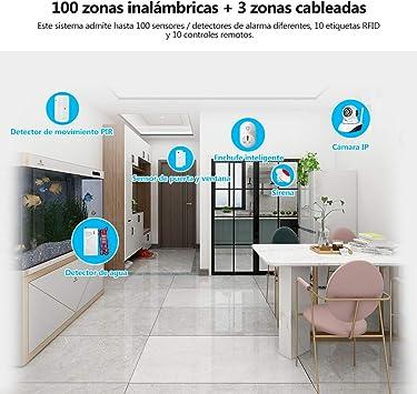 FUERS G34 4G gsm//WiFi Sistema Alarma para Casa por Call//SMS//App Kit Alarma Seguridad Inal/ámbrico por Control de Voz para Hogar//Tienda//Oficina Tuya Compatible con  Alexa//Google Home