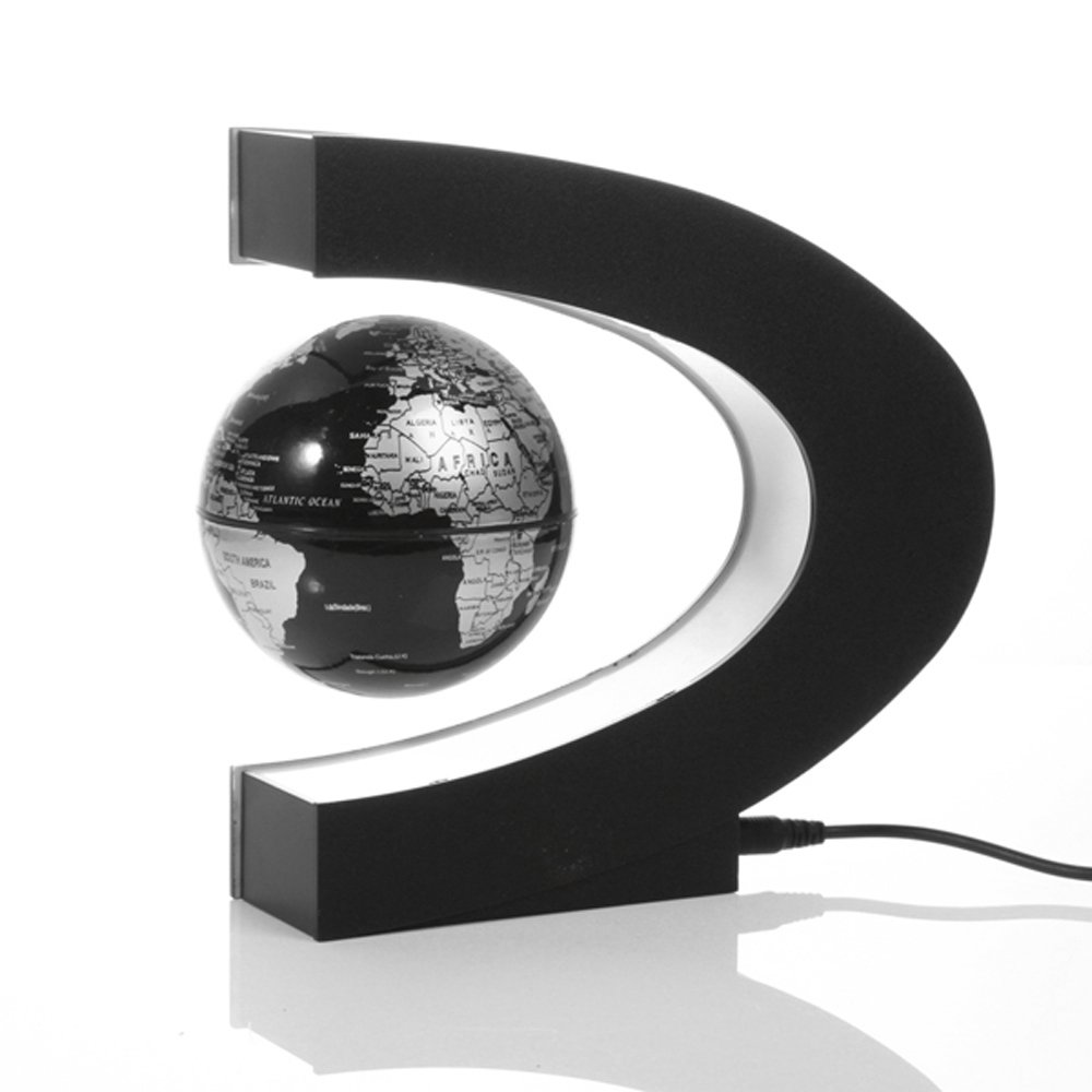 Contever® Fantastique maison et le bureau Décorations Cadeau Daffaires avec EU Prise --Bleu JHFU48WSHN Globe avec C forme Base lumières LED champ Magnétique Maglev Globe Anglais