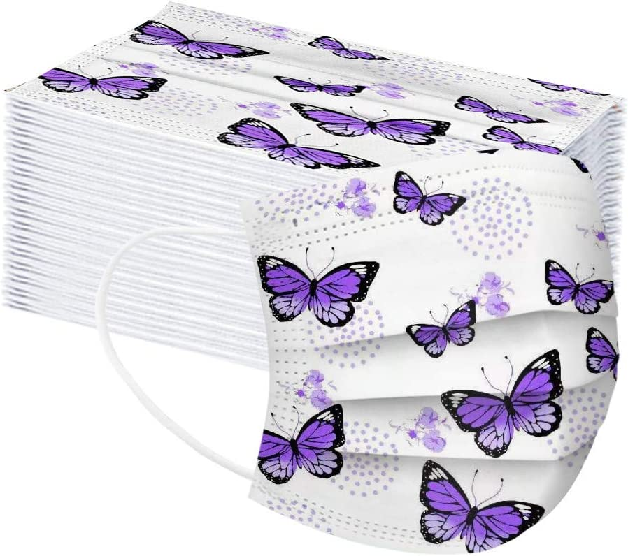 50//100 Pcs Disposable Face Bandana for Kids,Pink Butterfly 3 Ply Safety with Elastic Earloops and Nose Clip Suitable for Home Outdoor Office
