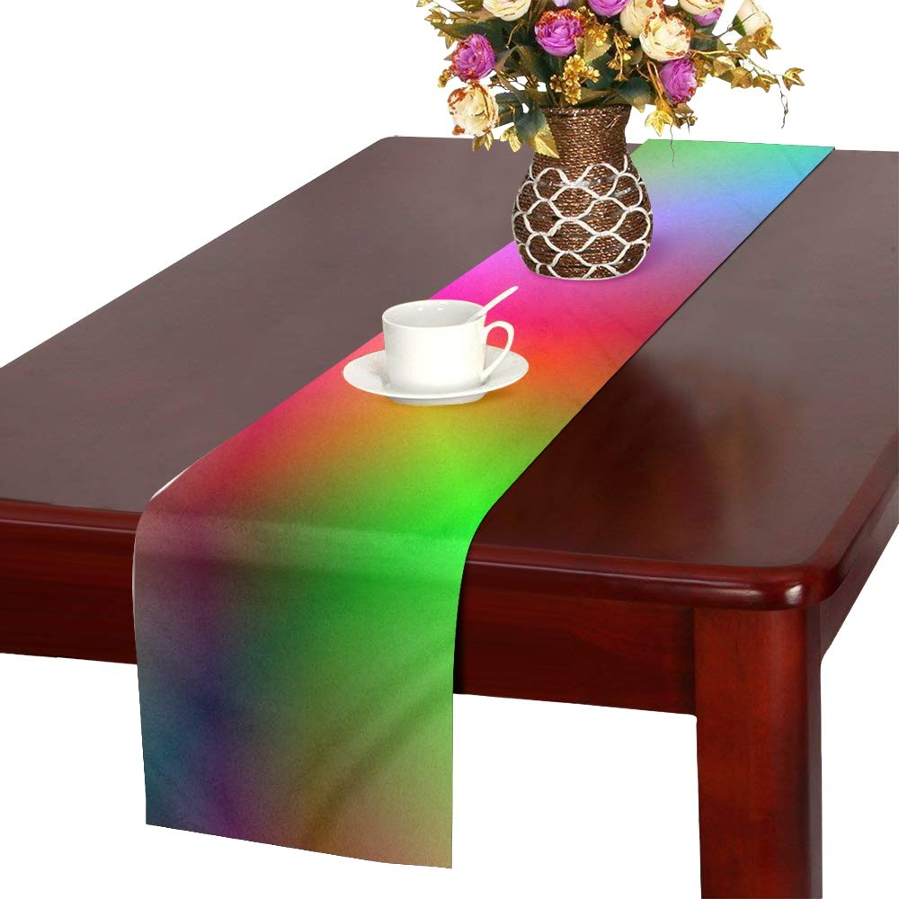Course Gradient Color Colorful Table Runner, Kitchen Dining Table Runner 16 X 72 Inch For Dinner Parties, Events, Decor