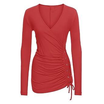 448a1a4dfa4e7 Hanican Sexy Women Long Sleeve Tops Low Cut V Neck Blouse Splice Bandge T  Shirt at Amazon Women s Clothing store