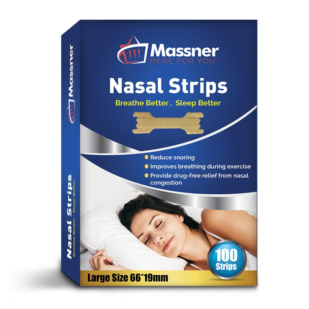 100 Large Nasal Strips Anti-Snoring Aid for Fast Relief. Instantly Stops Snoring for Better Sleep, Less Congestion. Improved Air Flow, Gentle Spring Like Action. 66x19mm, Big 3 Month Supply by Massner