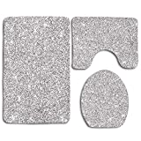 Silver Glitter Bling Cute Soft Comfort Flannel Bathroom Mats,Anti-Skid Absorbent Toilet Seat Cover Bath Mat Lid Cover,3pcs/Set Rugs