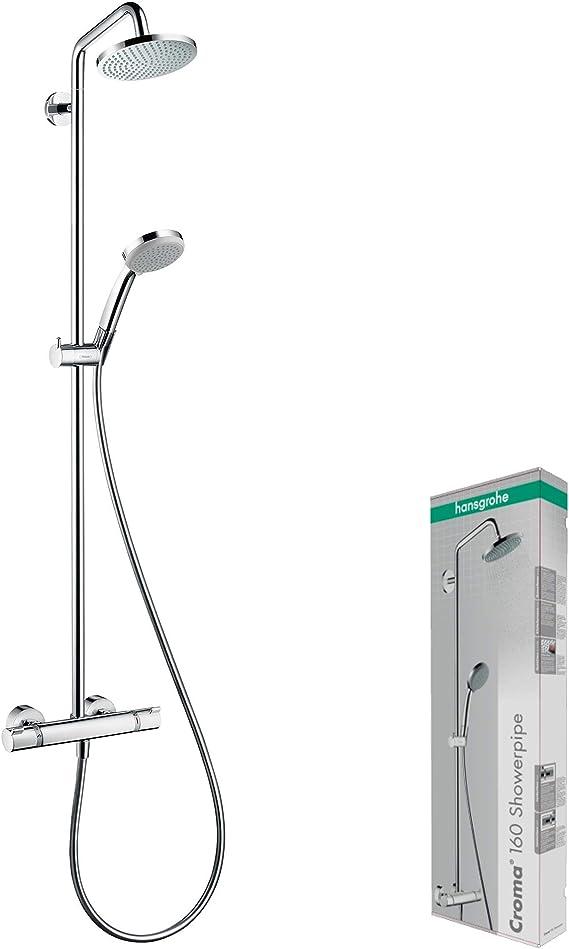 Hansgrohe 27135000 Croma 160 Showerpipe, 4 Tipos de Chorro con Termostato Visto, 160 mm: Amazon.es: Bricolaje y herramientas