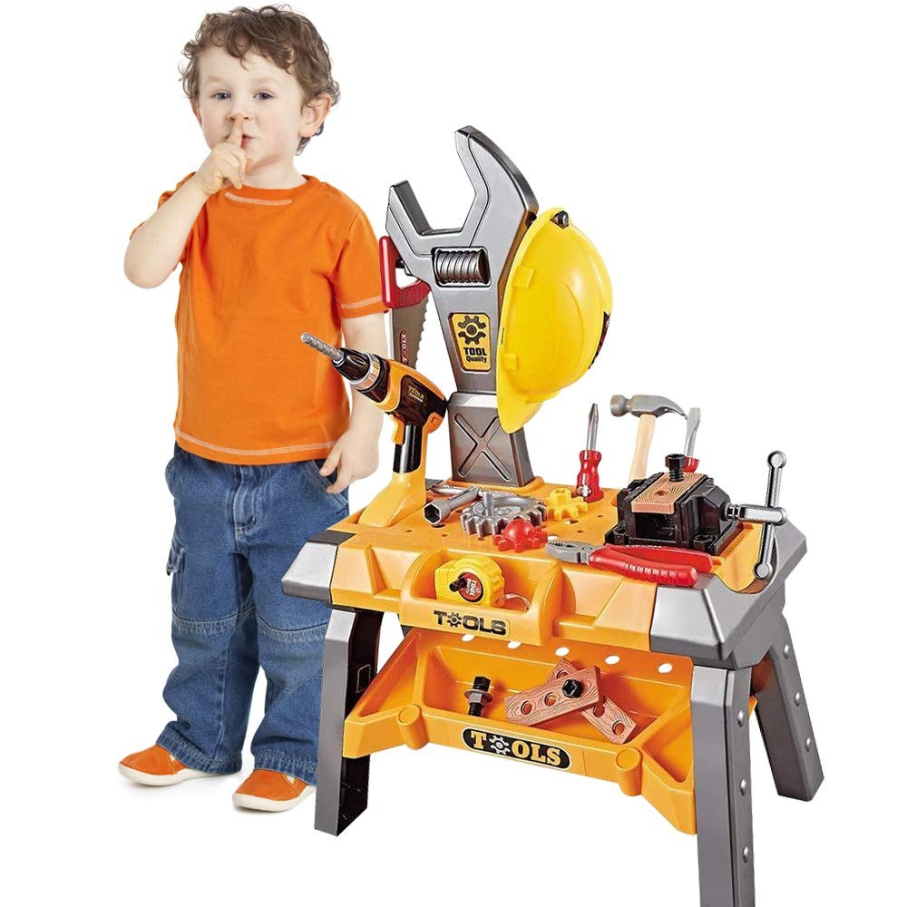 Toy Power Workbench, Kids Power Tool Bench Construction Set with Tools Electric Drill and Toy Helmet, Toddlers Toy Shop Tools for Boys LTD.