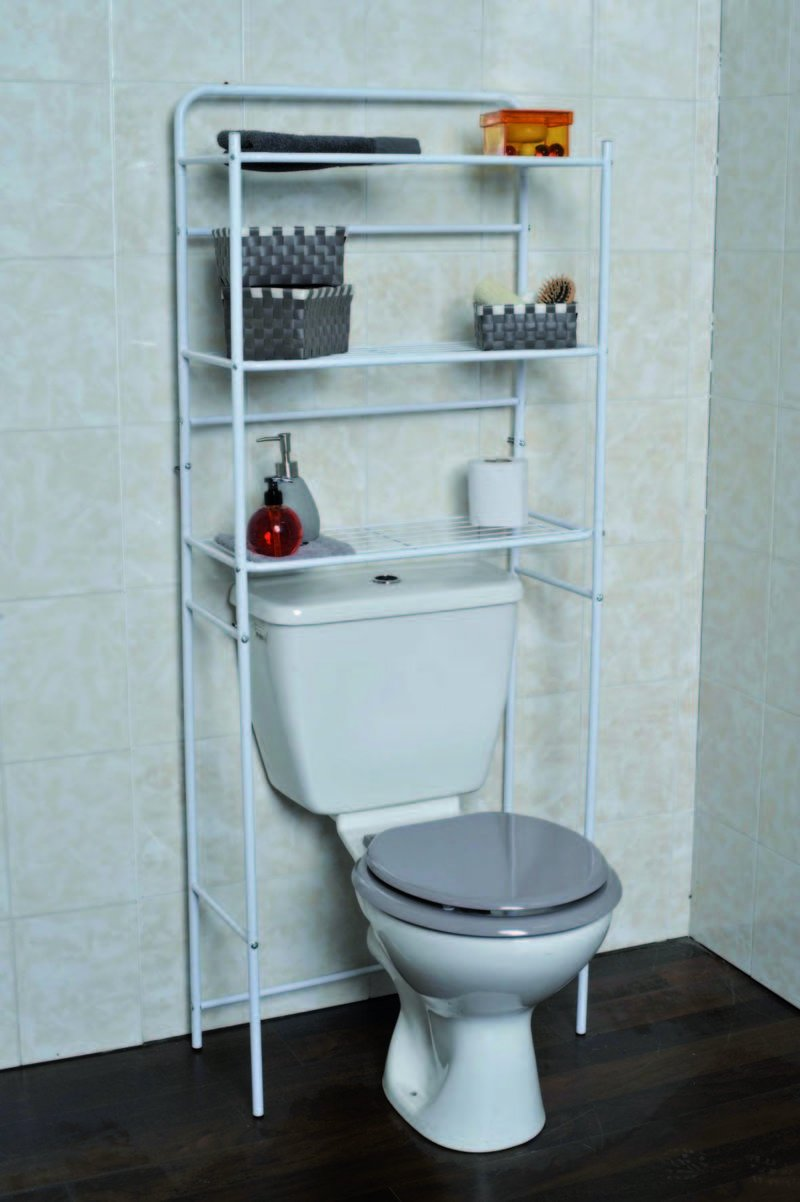 EVIDECO Over the Toilet Space Saver Cabinet Metal 3 Tier Wire Shelves White