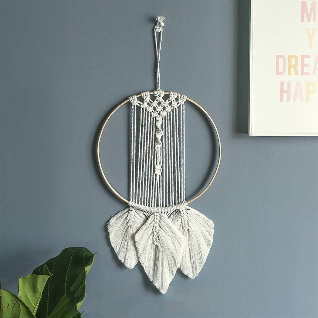 O-heart Macrame Wall Hanging, Woven Boho Chic Wall Decor Cotton Leaf Feather Bedroom Decor Large Wall Art Decor, Bohemian Home Decorations Wall Accent -Style 2