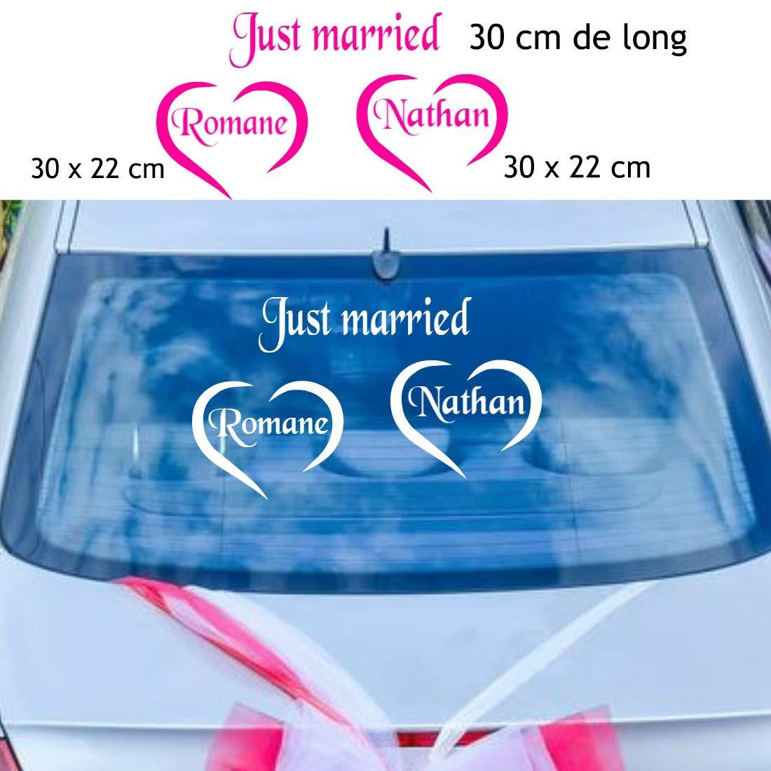 Les Lutins de Camille-Stickers décoration mariage pour la voiture, Just Married + les prénoms dans un coeurs. 14 couleurs au choix