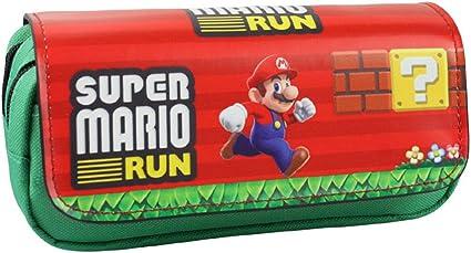 Estuche para lápices, diseño de Anime, doble capa, para estudiantes, adolescentes, color Super Mario: Amazon.es: Oficina y papelería