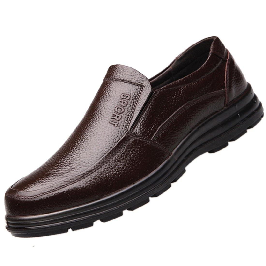 Enerhu Men Slip on Work Shoe Flat Chef Shoes Leather Wear Resistant Oilproof Waterproof Brown Asian 44/US 9.5