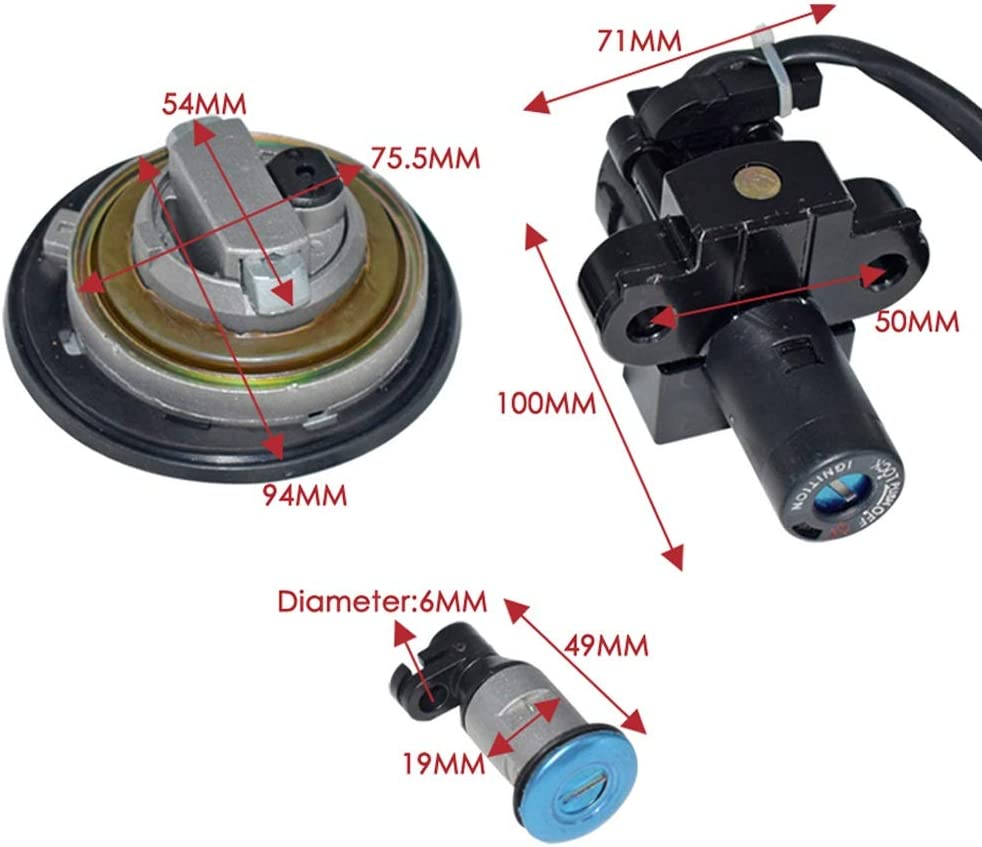 Color : Black Jennytong For Honda CBR 250 2011-2013 CBR600 F4 Motorcycle Ignition Switch Key Assembly Lock Fuel Gas Cap Tank Cover Locking With 2 Keys Car accessories motorcycle accessories