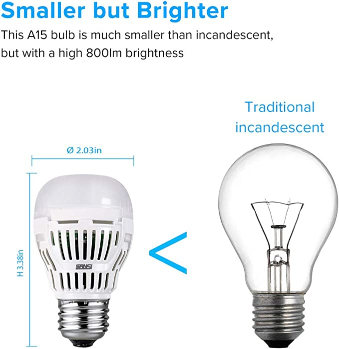 6-Pack ETL Listed SANSI 8W 80-60 Watt Equivalent 3000K Soft Warm LED Bulbs 800lm A15 LED Light Bulbs