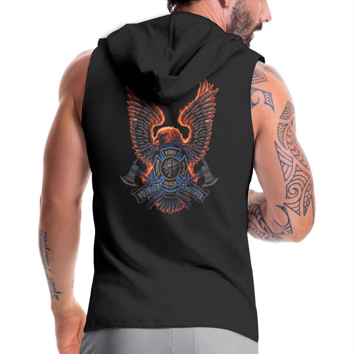 Ice-Long Out X American Firefighter Bravery Respect Tradition Mens Fashion Sleeveless Zip-up Hoodie Black with Pocket