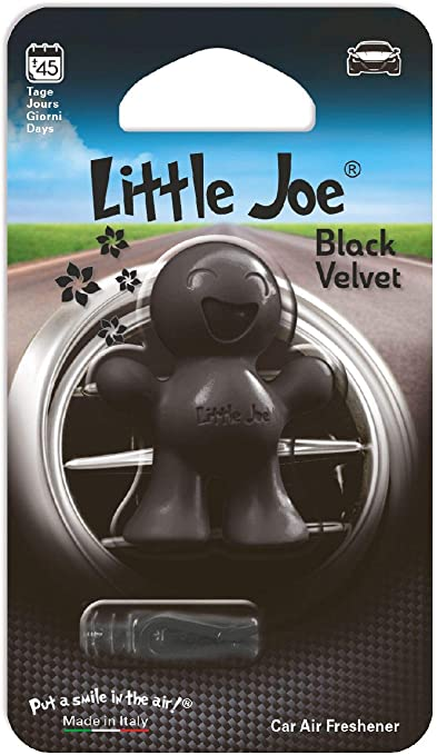 Little Joe Im Mini Blister By Sunstop Made In Italy Lufterfrischer 45 Tage Frische Im Fahrzeug Einfach Mit Dem Beiliegenden Clip Auf Den Lüftungsschlitz Fixieren Black Velvet Schwarz Auto