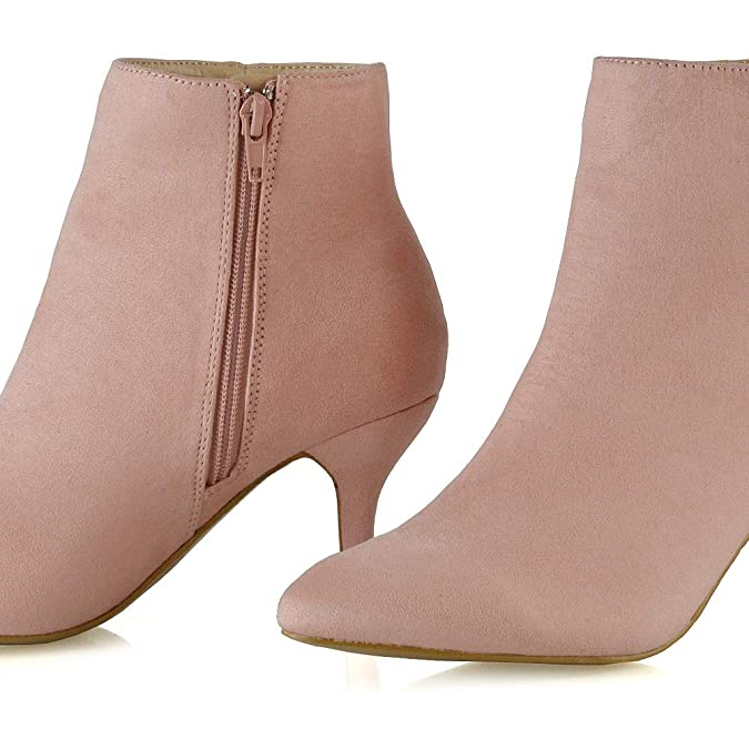 1f94a8a16ad95e ESSEX GLAM Frauen Reißverschluss Stiefeletten Damen Niedriger Kätzchen  Ferse Spitz Stiefel Schuhe  Amazon.de  Schuhe   Handtaschen