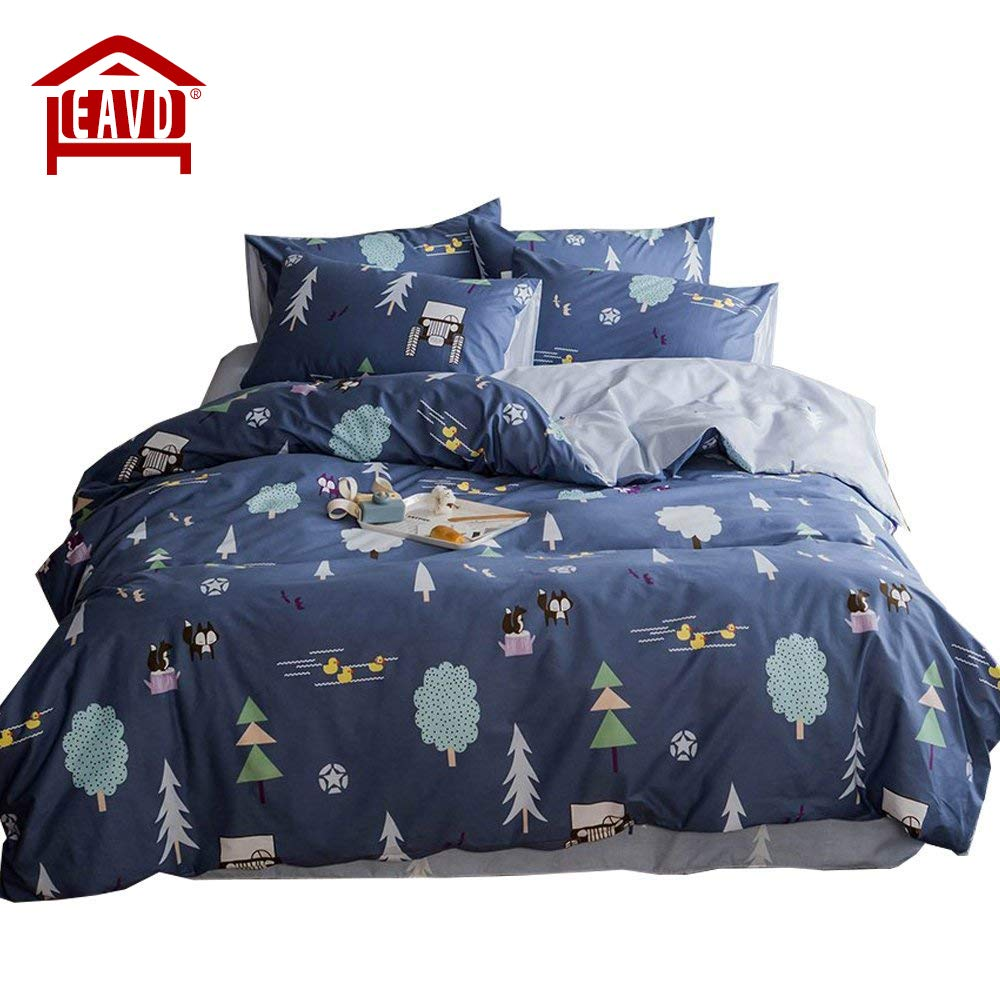 EAVD 100% Cotton Bedding Set Little Boy Reversible Cartoon Boys/Teens 3PCS Cute Animal Printing Duvet Cover Soft With 2 Pollowcases, Forest-B Comforter Covers Full Queen Size