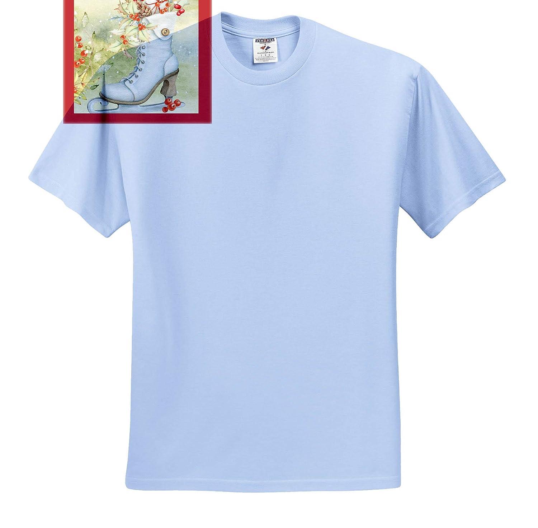 T-Shirts Nostalgic Ice Skate with Christmas Foliage and Berries 3dRose TNMGraphics Christmas