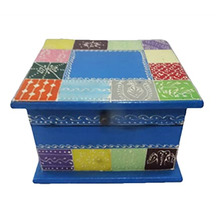 Caja de madera decorativa multicolor pintado a mano material azul decoración del hogar cuadrado forma mesa