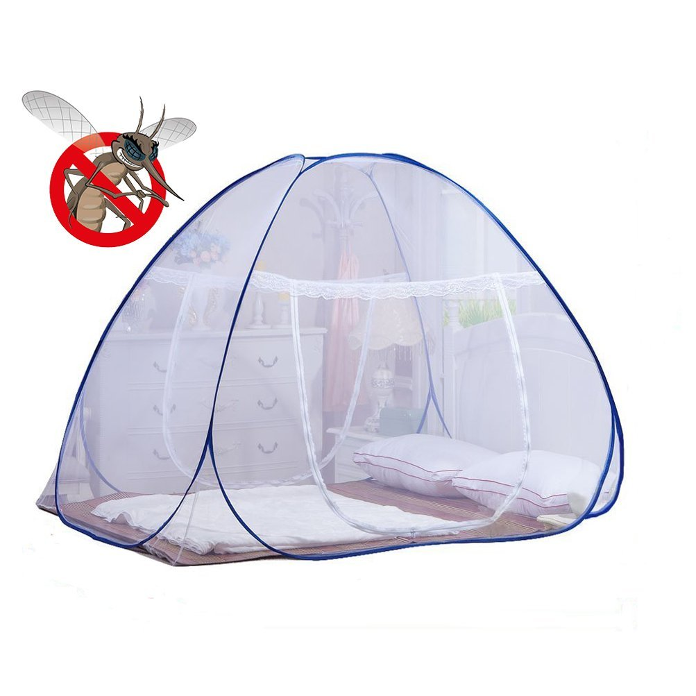DmsBanga 2017 New Fashion Camping Mosquito Out Net for Bed Pop Up Nursery Guard Tent Folding Bottom Moustiquaire Canopy Zipper Baby Toddlers Kids Adult Travel Outdoor (200×150×150 Cm)