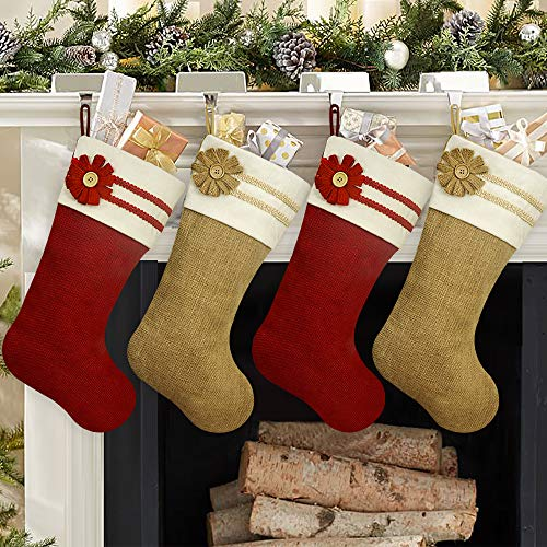 Ivenf Christmas Stockings, 4 Pack 18 Inch Large Original Burlap Handcraft Stockings, for Family Holiday Xmas Party Decorations (For Decorations Christmas Stockings)