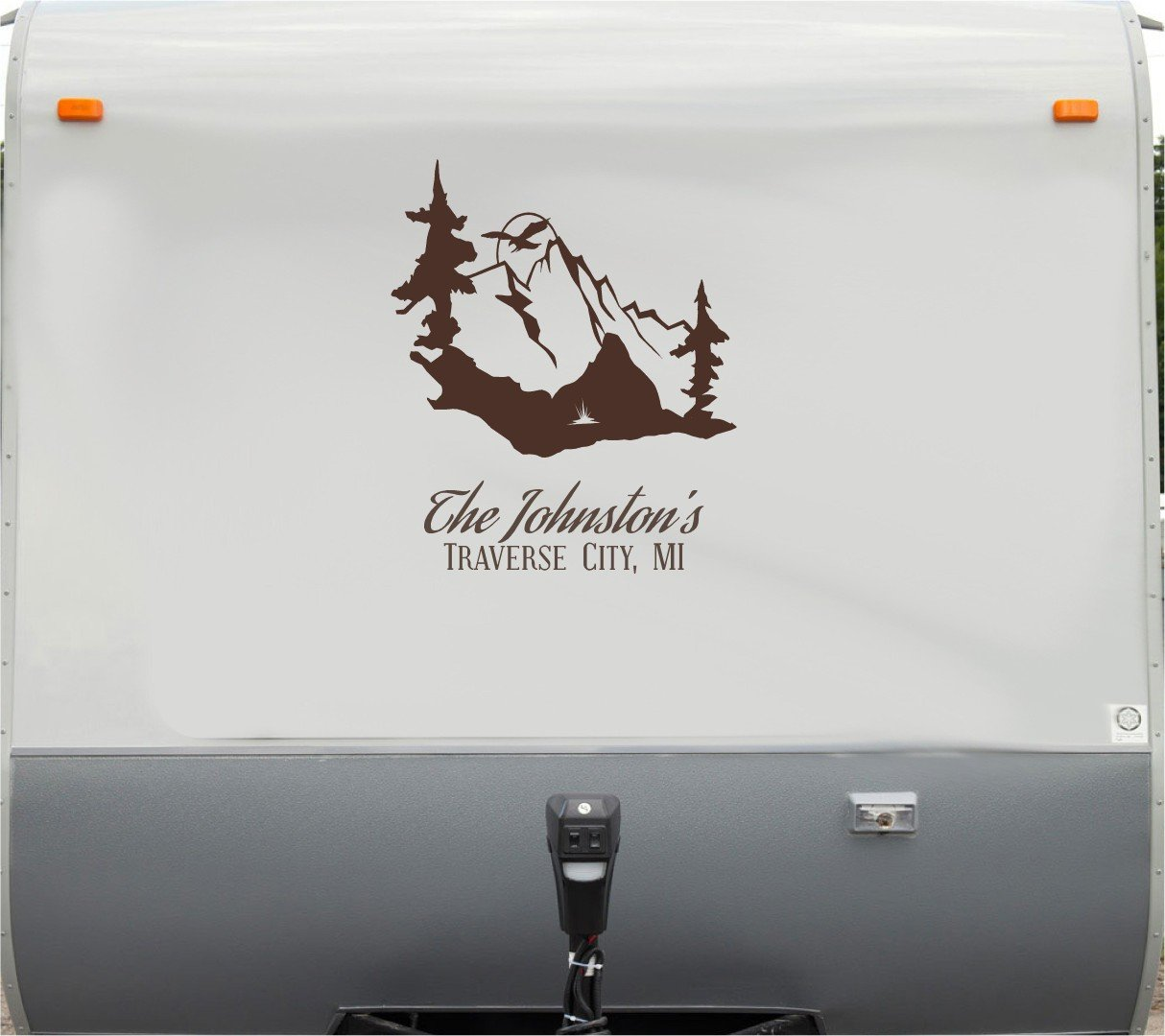 Amazon com mountain scene custom name rv camper trailer camping decal sticker graphic mural automotive