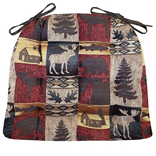 Barnett Products Woodlands Fairbanks Red & Gold Dining Chair Pad with Ties - Size Extra-Large - Latex Foam Filled Cushion - Rustic Log Cabin & Lake House Tapestry