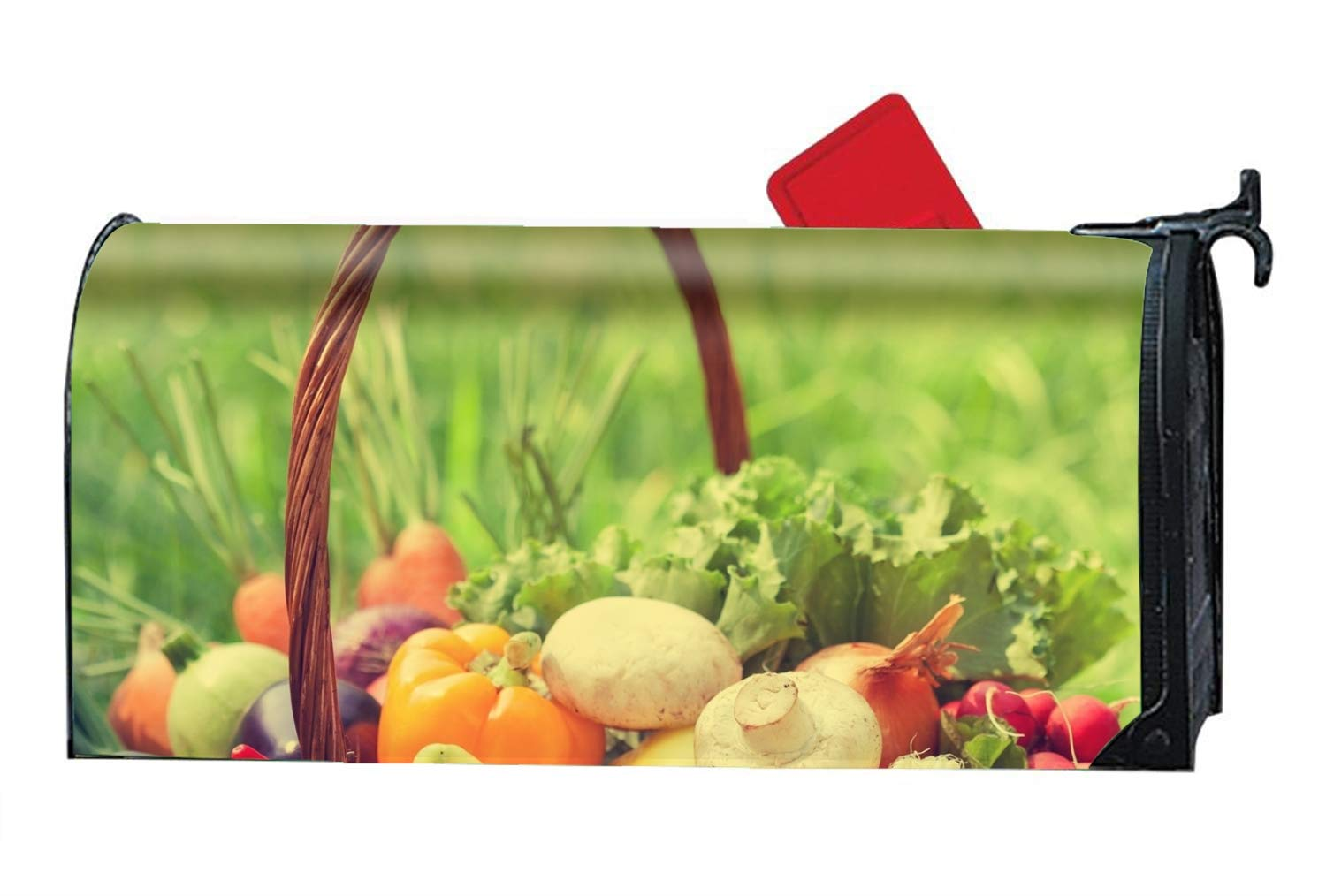 Verna Christopher Fresh Organic Vegetables - Mailbox Makeover Cover - Vinyl with Magnetic for Standard Mailbox