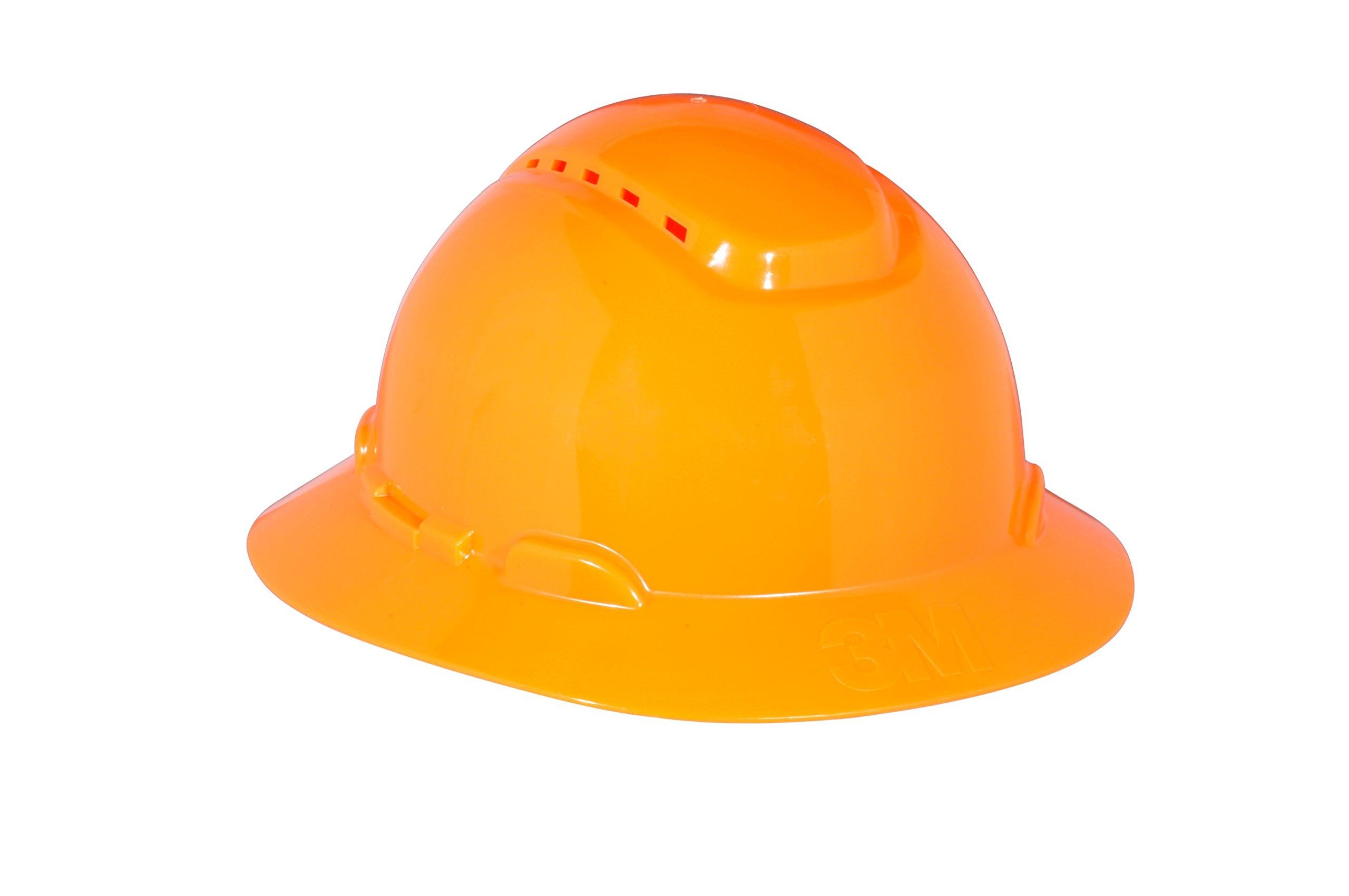 3M Full Brim Hard Hat H-806V, Orange 4-Point Ratchet Suspension, Vented