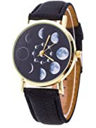 LYMFHCH Moon Phase Astronomy Space Watch Unisex Leather Quartz - Black Gold