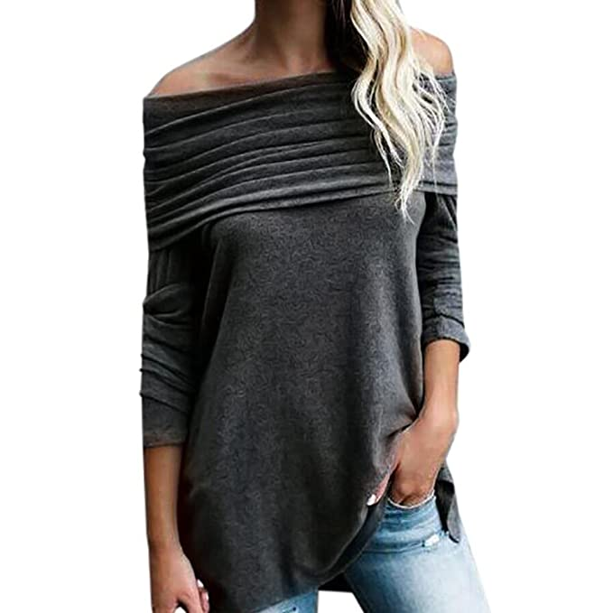 269a44c0fc9 kingfansion Fashion Sexy Women Loose Long Sleeve Off Shoulder Strapless Tops  Ruched Blouse Shirt (S