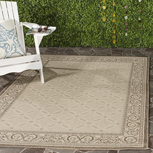 Safavieh Courtyard Collection CY1502-3001 Natural and Brown Indoor Outdoor Area Rug 6 7 x 9 6