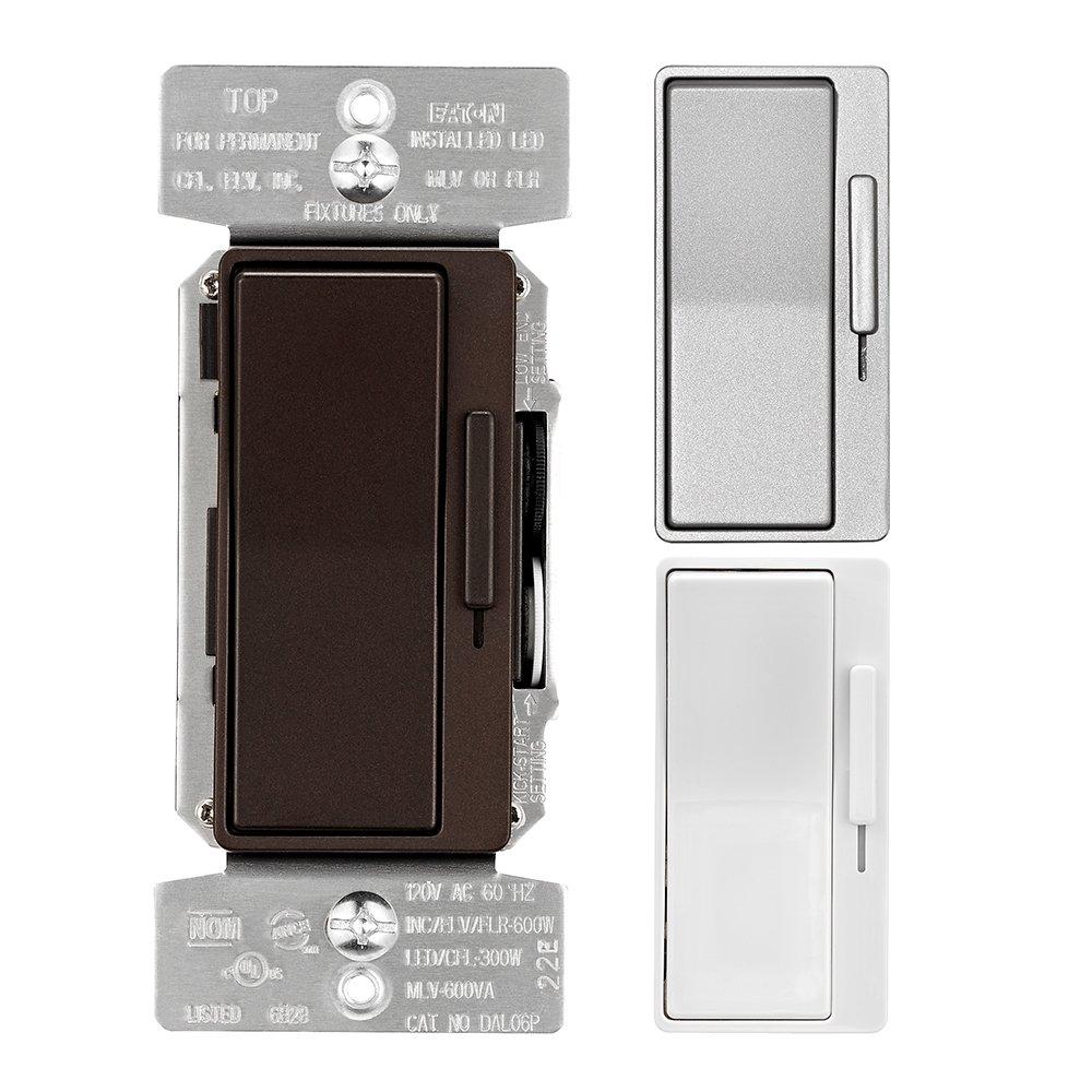Eaton DAL06P-C6-K-L Designer Dimmer with Preset and Metallic Finish Color Change Kit, Oil rubbed Bronze, Silver Granite, White
