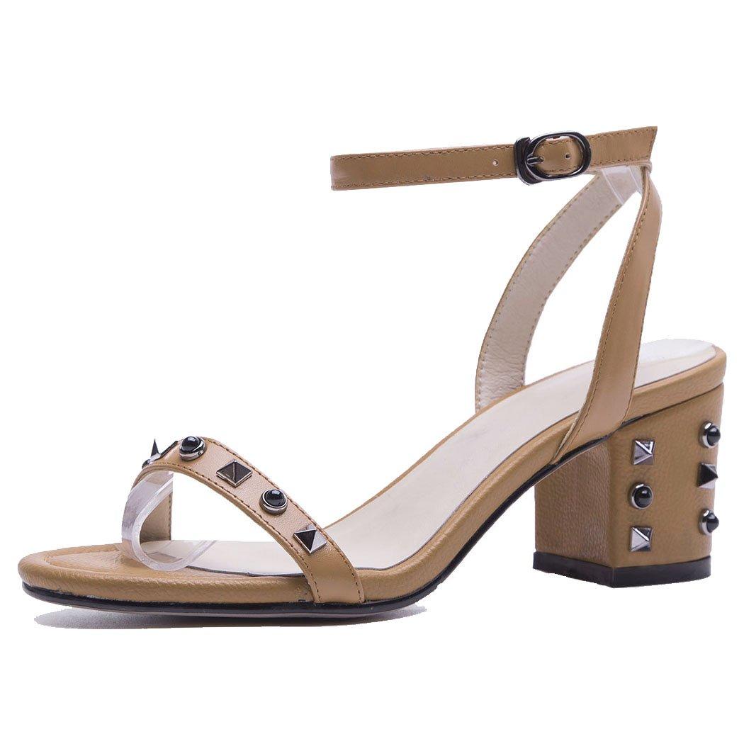 GAOLIXIA Mujeres de las señoras de cuero real punta abierta sandalias de la T-correa de verano remache correa de tobillo zapatos de tacón alto de la corte de las bombas zapatos de trabajo de oficina 36|Marrón