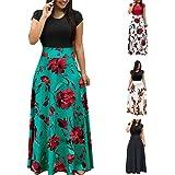 isopeen Women Casual Long Dress Short Sleeve O-Neck High Waist Patchwork Slim Pleated Floral Maxi Dress