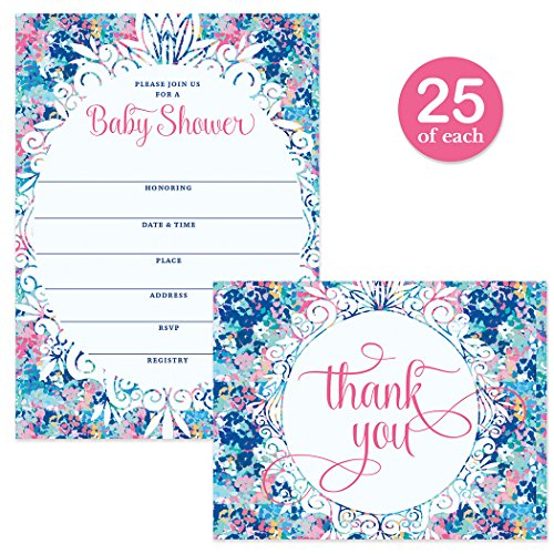 Colorful Baby Shower Invitations & Thank You Cards 25 Each Blue Pink Boy Girl Mom-to-be New Infant Son Daughter 25 Blank Invites & 25 Folded Thanking Notes Boxed Set with Envelopes Digibuddha VS0079S