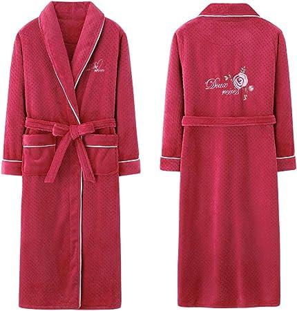 para Mujer Ligero Franela Batas, Felpa Absorbente Suave Albornoz Ropa de Noche Caliente Grueso Loungewear Bolsillo Bata para la Mujer,M: Amazon.es: Hogar